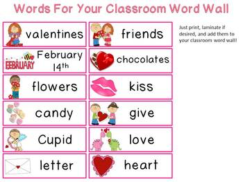 Valentine's Day Fun Mini-Word Wall Activity Pack