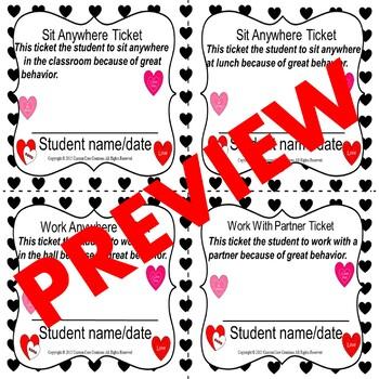 Valentines Day Fun Rewards Tickets (Classroom Management)