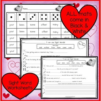 Sight Word Games - Valentines's Day Theme Roll and Cover {EDITABLE}