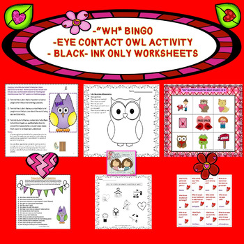 "Social Language: Valentine's Day Eye Contact & ""WH"" Question Activity Packet"