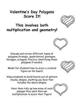 Valentines Day Geometry - Polygons Score It