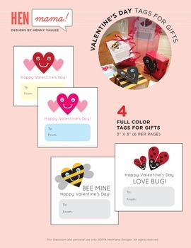 Valentine's Day Gift Tags (Love Bug & Bee Mine)