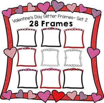 Valentine's Day Glitter Frames Set 2 - 28 Frames
