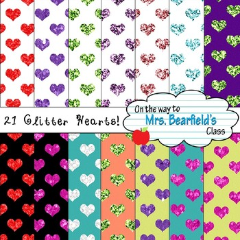 Valentine's Day Glitter Hearts Digital Papers