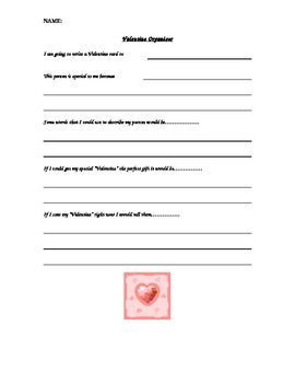 Valentine's Day Graphic Organizer Language Arts Writing Prompt