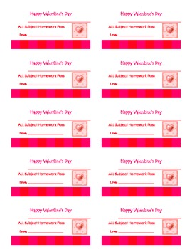 Valentine's Day HW Pass