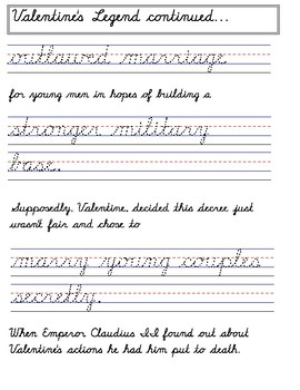 Valentines Day Handwriting Worksheets MODERN MANUSCRIPT CURSIVE (D'Nealian)