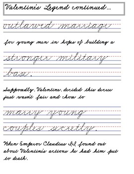 valentines day handwriting worksheets palmer cursive by chamaine nelson. Black Bedroom Furniture Sets. Home Design Ideas