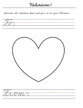 Valentines Day Handwriting Worksheets PALMER CURSIVE