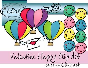 Valentines Day Happy Clip Art - 17 piece set