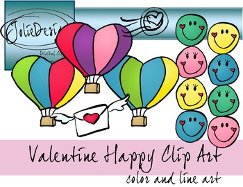 Valentines Day Happy Faces and Air Balloons Clip Art - 17 piece set