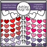 Valentine's Day Heart Banners Clipart {A Hughes Design}