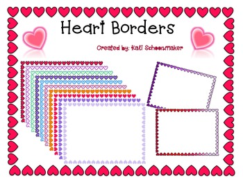 Valentine's Day Heart Borders Frames in Various Colors! (Commercial Use)