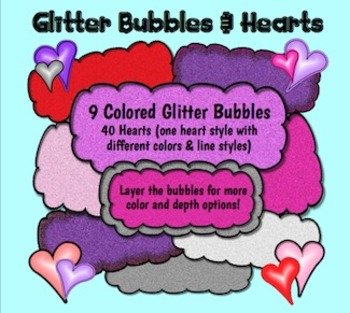 Valentine's Day Heart Clipart and Glitter Bubbles