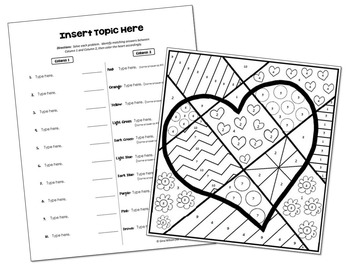Coloring Activity Template: Valentine's Day (Personal Use Only)