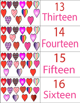 Valentine's Day Heart Number Cards 1 to 20