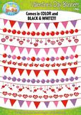 Valentine's Day Heart Pendant Banners Clipart {Zip-A-Dee-Doo-Dah Designs}