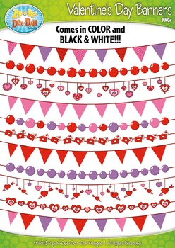 Valentine's Day Heart Pendant Banners Clip Art Set — Inclu