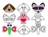 Valentines Day Heart Shape Animals Dog Raccoon Butterfly B