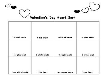 Valentine's Day Heart Sort Team Edition Kindergarten