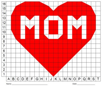 Valentine's Day Heart with Mom, Mother's Day, Color Grid