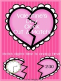 Valentine's Day Hearts Analog Clock & Digital Time Cut & Match! Math Station
