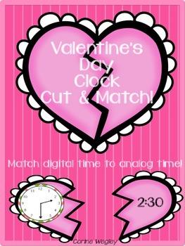Valentine's Day Hearts Analog Clock & Digital Time Cut & M