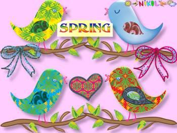 Birds - Ribbons - Hearts - Clip Art