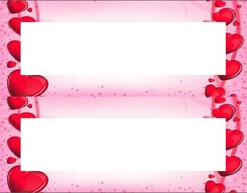 Valentine's Day Hearts Desk Name Tag Plates Set