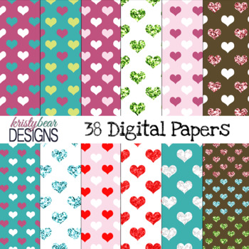 Valentine's Day Hearts Digital Papers