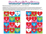 Valentine's Day Hearts Math Number Cube Game