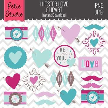 Valentine's Day Hearts, Mustaches, Hipster Clipart - EV108
