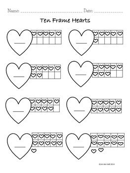 Valentine's Day Hearts Ten Frame Matching Game with Recording Sheets