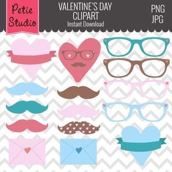 Valentine's Day Hipster Hearts, Mustaches, and Glasses Clipart - EV110
