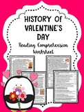Valentine's Day History Reading Comprehension Worksheet, Informational, February