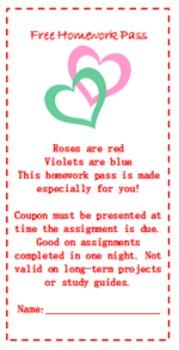 Valentines Day Homework Pass