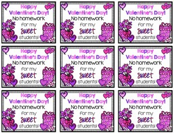 Valentines Day Free Homework Passes