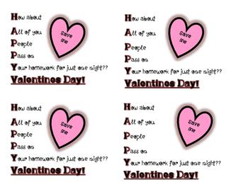 Valentines Day Homework Pass Gift