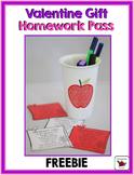 Valentine's Day Homework Pass Gift {Freebie}