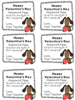 Valentine's Day Homework Passes from Teacher