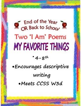 'I Am' Poem My Favorite Things W3d 4-8