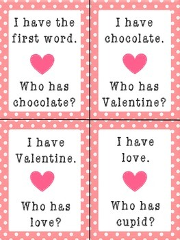 Valentines Day FREEBIE : I Have, Who Has?