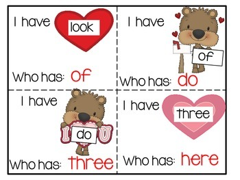 Sight Words I Have Who Has  Kindergarten Sight Words