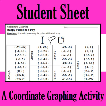 Valentine's Day - I Heart U - A Coordinate Graphing Activity