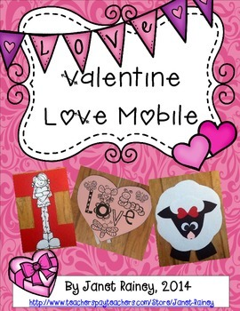 """Valentine's Day I Love """"Ewe"""" Mobile Craftivity with Activities"""
