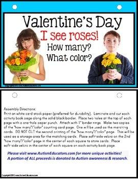 Valentine's Day - I SEE ROSES (How Many/What Color) Pre-K, Kindergarten, Autism