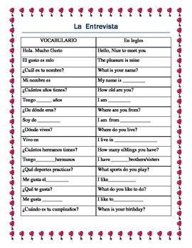 Valentines Day Ice Breaker Spanish- Writing Prompt & Interview Script