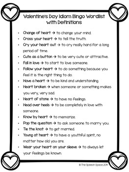 Valentine's Day Idiom Bingo - Common Core Aligned