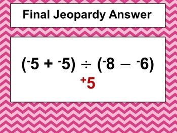 Valentine's Day Integer Game Similar to Jeopardy