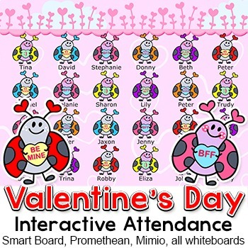 Valentine's Day Attendance for Interactive Whiteboards & Smartboards